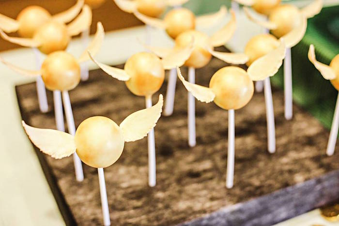 Golden Snitch Cake Pops from a Harry Potter Birthday Party via Kara's Party Ideas | KarasPartyIdeas.com | The Place for All Things Party! (56)