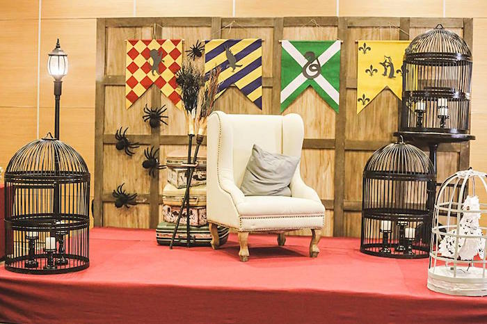 Photo Op Stage + Backdrop from a Harry Potter Birthday Party via Kara's Party Ideas | KarasPartyIdeas.com | The Place for All Things Party! (30)