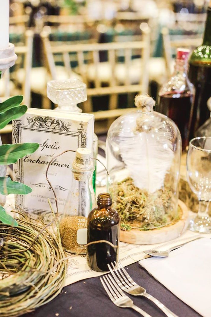 Guest Table Decor from a Harry Potter Birthday Party via Kara's Party Ideas | KarasPartyIdeas.com | The Place for All Things Party! (9)