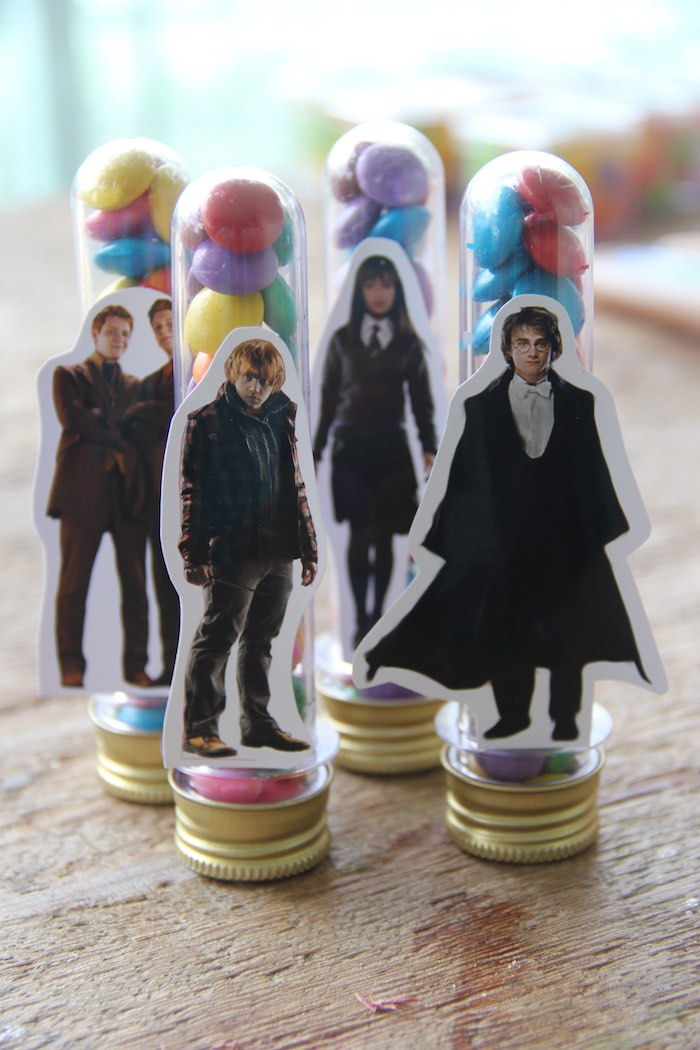 Plastic Favor Tubes adorned with Harry Potter Characters from a Harry Potter Birthday Party via Kara's Party Ideas | KarasPartyIdeas.com (40)