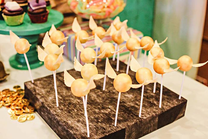 Golden Snitch Cake Pops from a Harry Potter Birthday Party via Kara's Party Ideas | KarasPartyIdeas.com | The Place for All Things Party! (53)