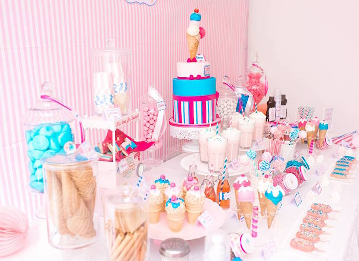 Side-view of a Dessert Table from an Ice Cream Shoppe Birthday Party via Kara's Party Ideas | KarasPartyIdeas.com (11)