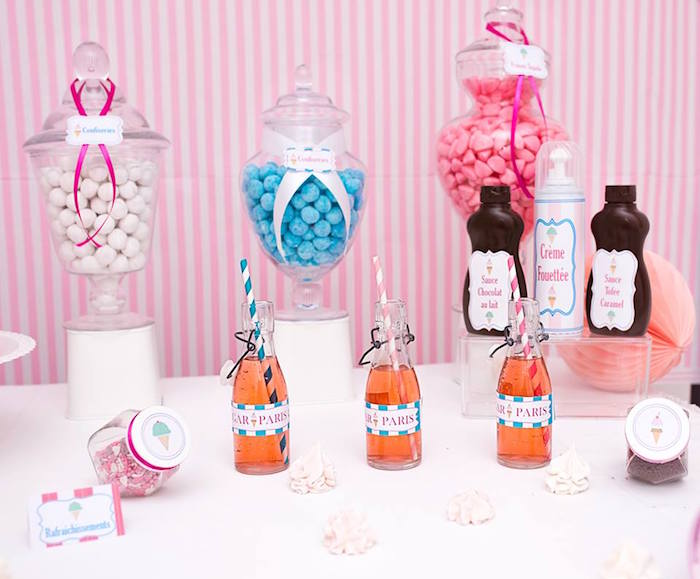 Drinks + Sweets + Details from an Ice Cream Shoppe Birthday Party via Kara's Party Ideas | KarasPartyIdeas.com (9)