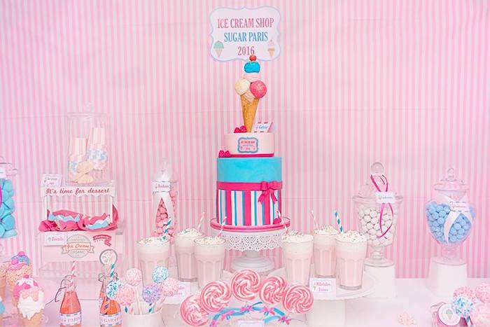Sweet Table from an Ice Cream Shoppe Birthday Party via Kara's Party Ideas   KarasPartyIdeas.com (5)
