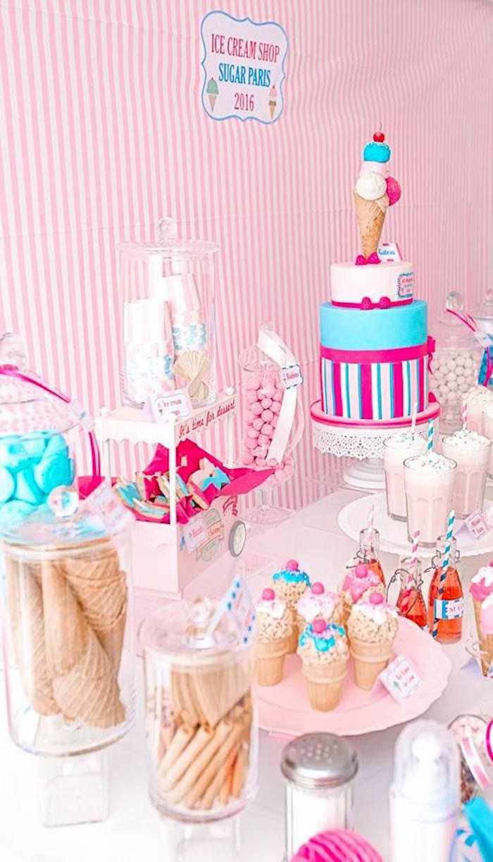 Kara\'s Party Ideas Ice Cream Shoppe Birthday Party | Kara\'s Party Ideas