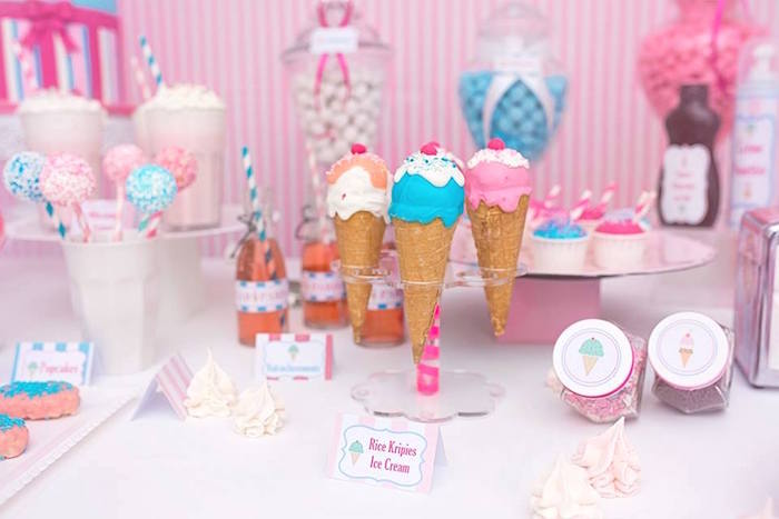 Ice Cream Cone Cake Pops + Sweet Table Details from an Ice Cream Shoppe Birthday Party via Kara's Party Ideas | KarasPartyIdeas.com (20)