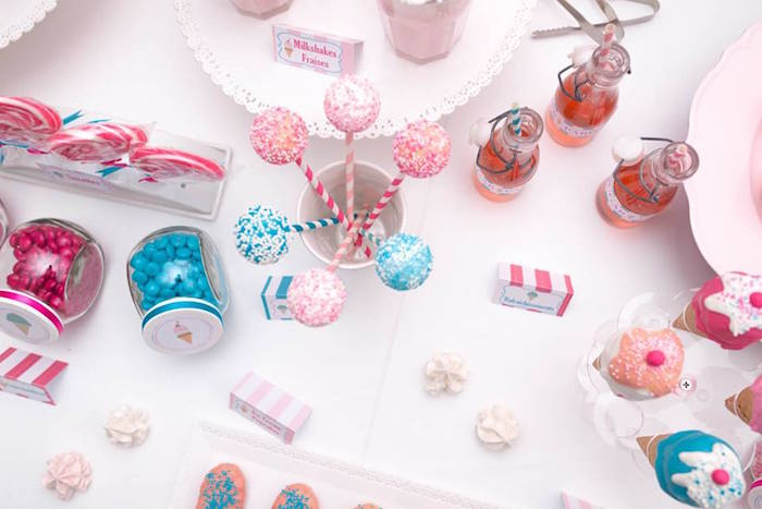Cake Pops + Other Sweet Details from an Ice Cream Shoppe Birthday Party via Kara's Party Ideas | KarasPartyIdeas.com (17)