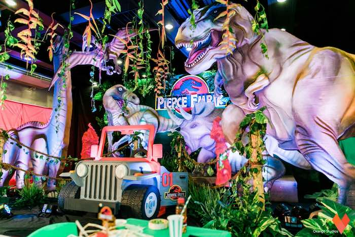 Jeep Photobooth Party Backdrop From A Jurassic Park Themed Birthday Via Karas Ideas