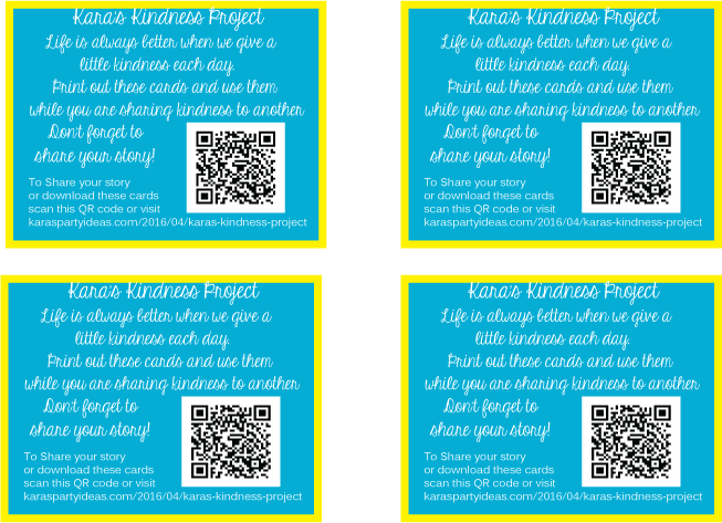 Printable pay-it-forward kindness project cards via Kara's Party Ideas