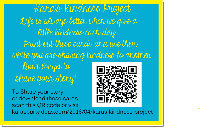 QR code for Kara's kindness project and instructions