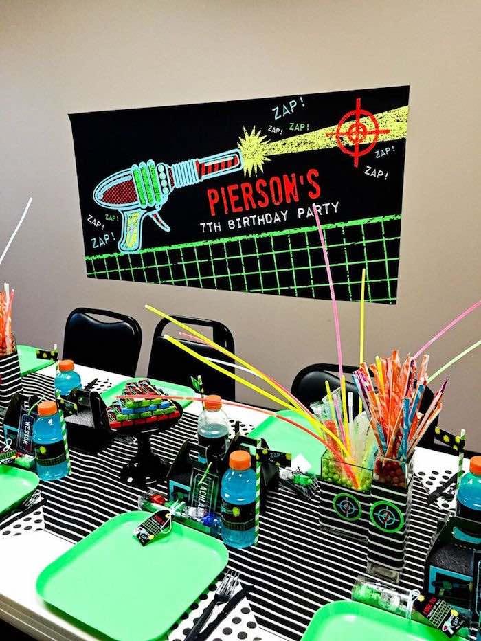 Party Table from a Laser Tag Birthday Party via Kara's Party Ideas | KarasPartyIdeas.com (18)