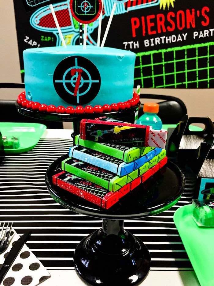 "Cake + Laser ""Gum"" Favors from a Laser Tag Birthday Party via Kara's Party Ideas | KarasPartyIdeas.com (17)"