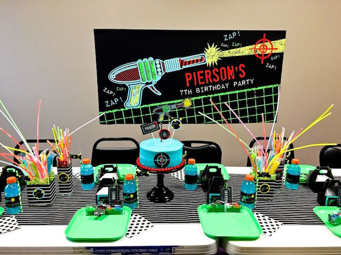 Party Setup + Table from a Laser Tag Birthday Party via Kara's Party Ideas | KarasPartyIdeas.com (16)