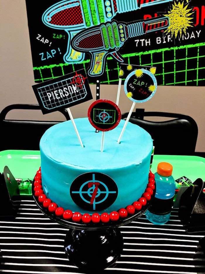 Cake from a Laser Tag Birthday Party via Kara's Party Ideas | KarasPartyIdeas.com (12)