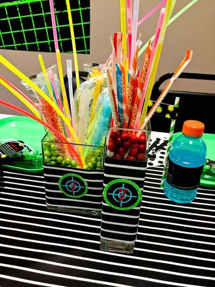 Centerpieces from a Laser Tag Birthday Party via Kara's Party Ideas | KarasPartyIdeas.com (11)