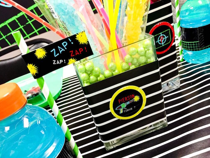 Centerpiece from a Laser Tag Birthday Party via Kara's Party Ideas | KarasPartyIdeas.com (10)