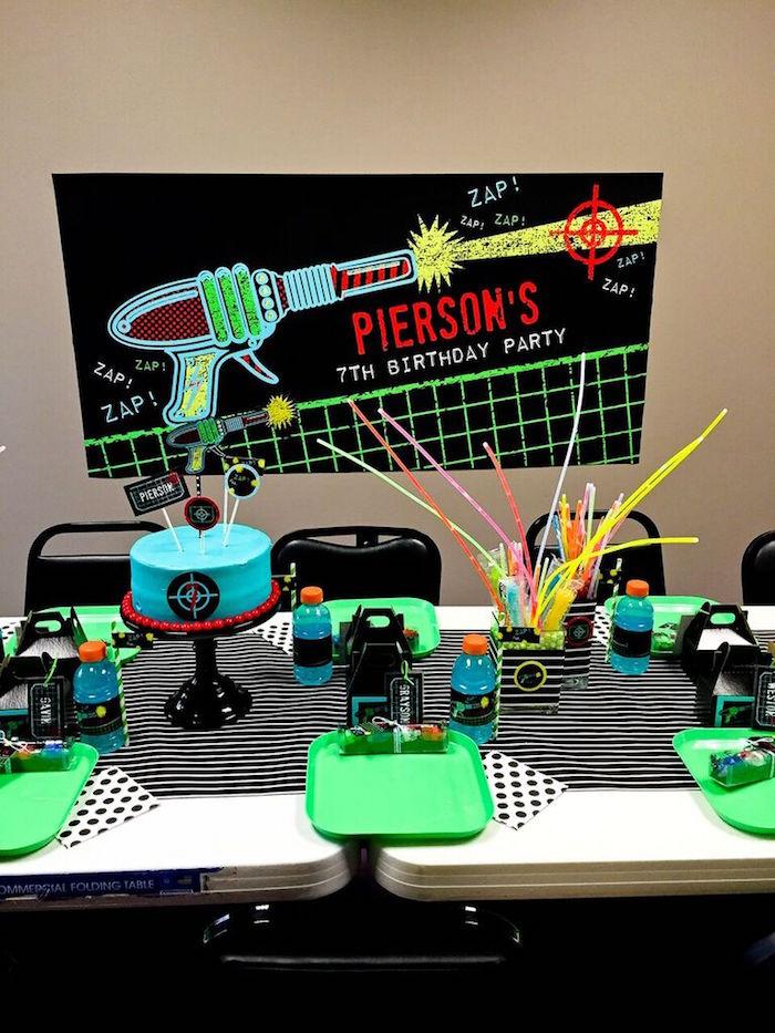 Party Display + Table from a Laser Tag Birthday Party via Kara's Party Ideas | KarasPartyIdeas.com (27)