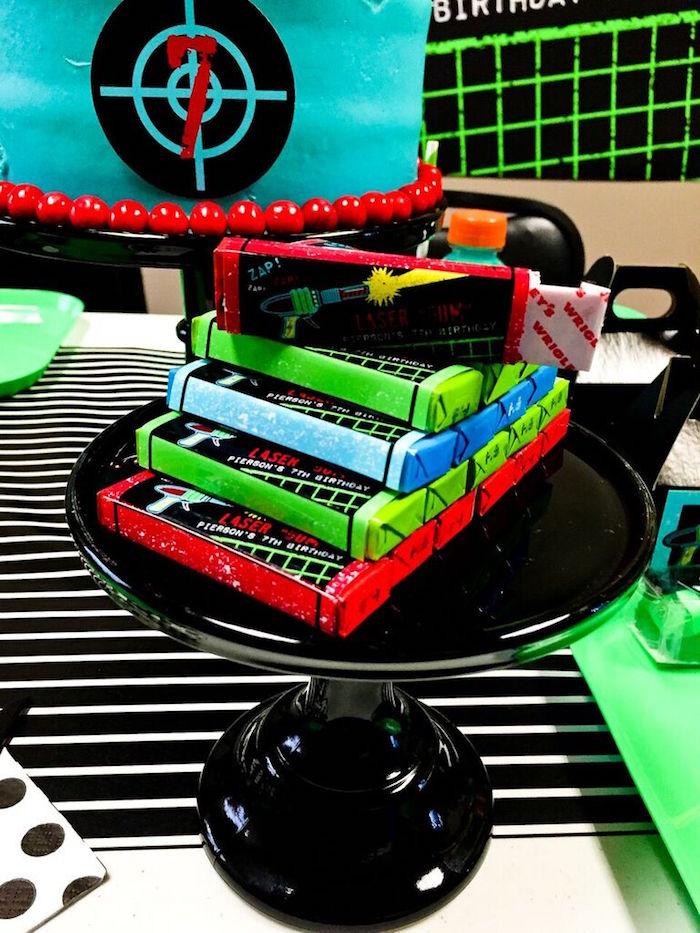 Gum Favors from a Laser Tag Birthday Party via Kara's Party Ideas | KarasPartyIdeas.com (24)
