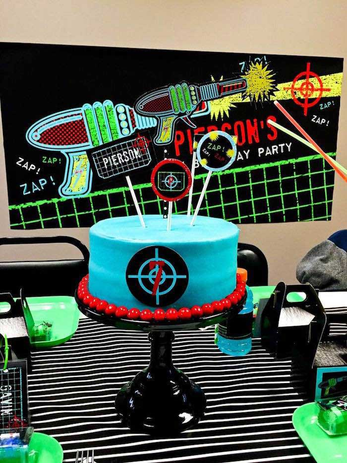 Cake from a Laser Tag Birthday Party via Kara's Party Ideas | KarasPartyIdeas.com (22)