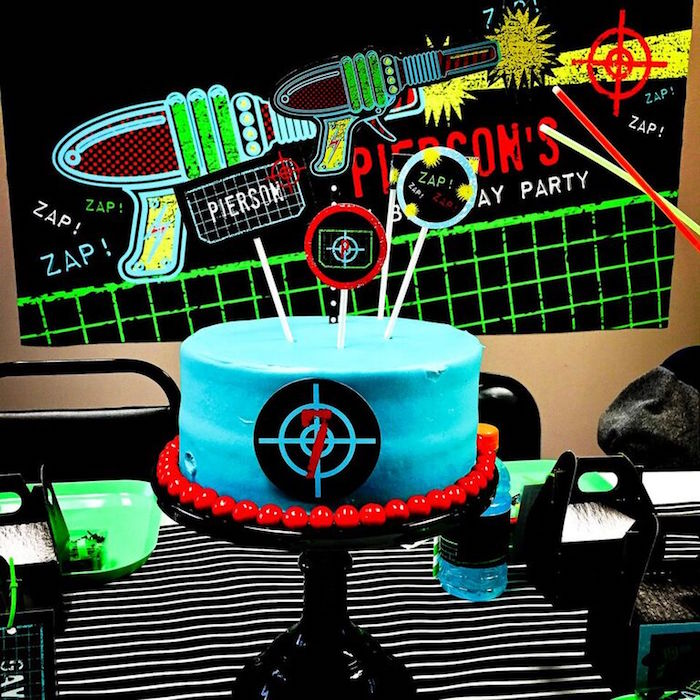 Cake Detail from a Laser Tag Birthday Party via Kara's Party Ideas | KarasPartyIdeas.com (21)