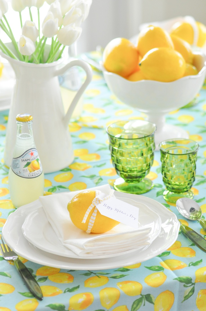 Lemonade | Lemon tablescape for Mother's Day by Kara Allen | Kara's Party Ideas KarasPartyIdeas.com_-12