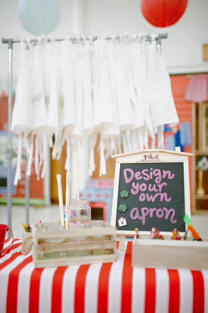 Design your own apron station from a Little Chef Birthday Party via Kara's Party Ideas! KarasPartyIdeas.com (30)