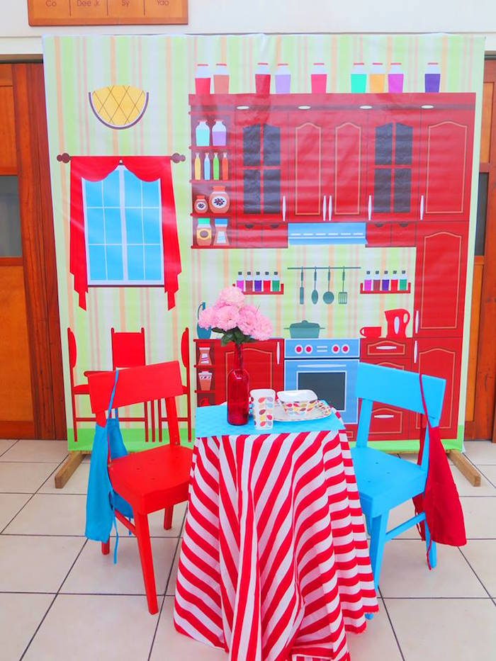Kitchen Setting + Play Area from a Little Chef Birthday Party via Kara's Party Ideas! KarasPartyIdeas.com (39)