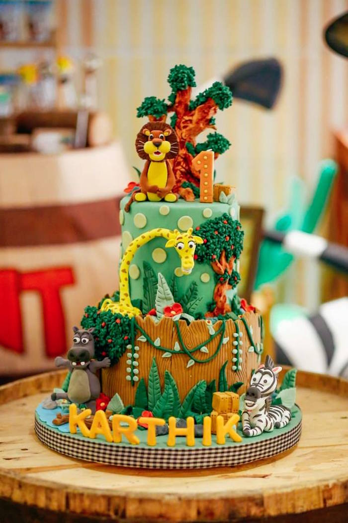 Cake from a Madagascar Birthday Party via Kara's Party Ideas KarasPartyIdeas.com (10)