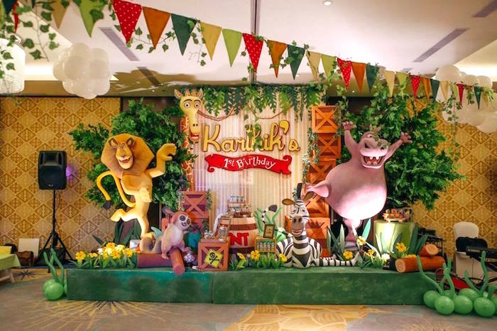 Party Stage Dessert Display From A Madagascar Birthday Via Karas Ideas KarasPartyIdeas