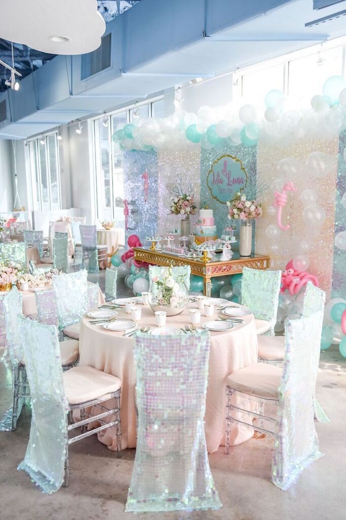 Guest Table from a Mermaid Oasis Themed Birthday Party via Kara's Party Ideas | KarasPartyIdeas.com (52)