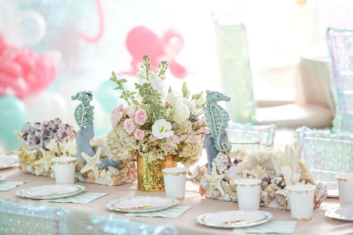 Head Dining Tablescape from a Mermaid Oasis Themed Birthday Party via Kara's Party Ideas | KarasPartyIdeas.com (51)