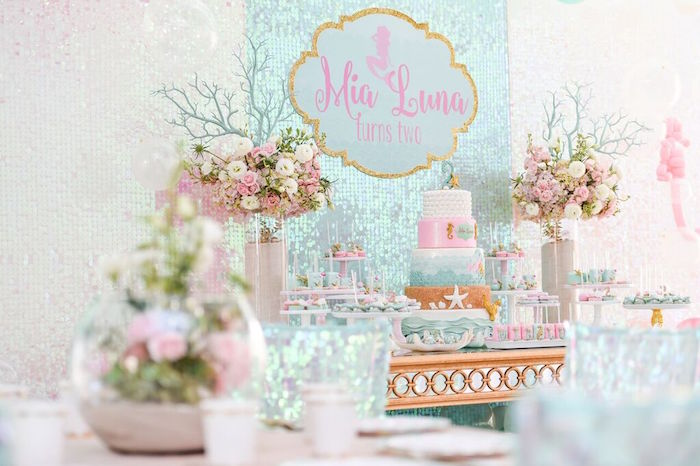 Sweet Table from a Mermaid Oasis Themed Birthday Party via Kara's Party Ideas | KarasPartyIdeas.com (48)