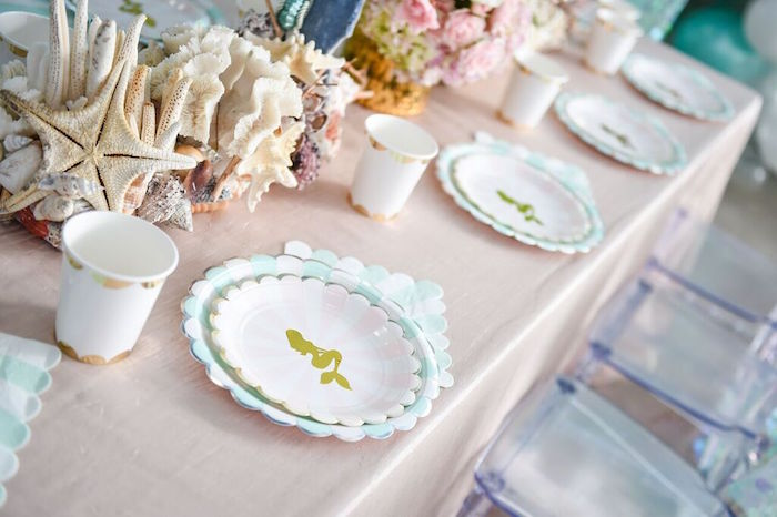 Head Dining Table Place Settings from a Mermaid Oasis Themed Birthday Party via Kara's Party Ideas | KarasPartyIdeas.com (45)