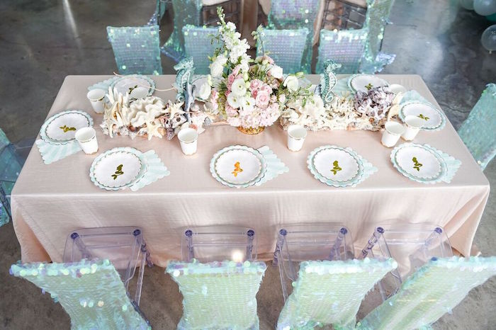 Head Dining Tabletop from a Mermaid Oasis Themed Birthday Party via Kara's Party Ideas | KarasPartyIdeas.com (44)