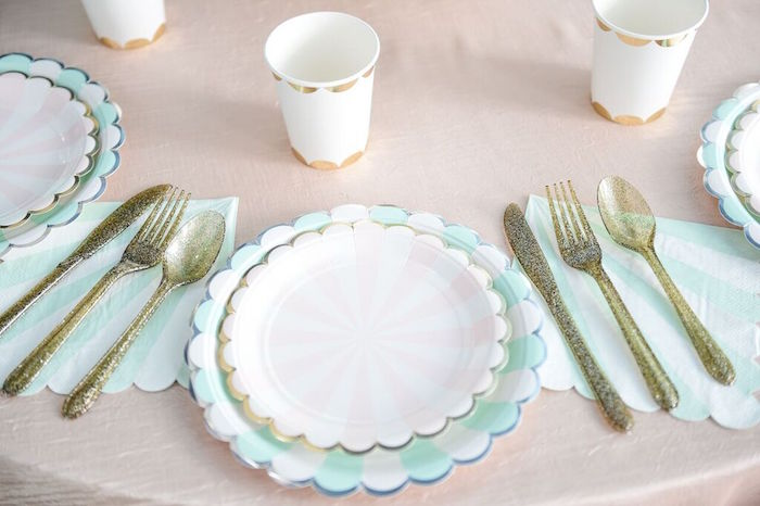 Place Setting from a Mermaid Oasis Themed Birthday Party via Kara's Party Ideas | KarasPartyIdeas.com (43)