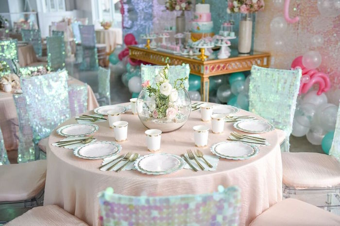 Guest Table from a Mermaid Oasis Themed Birthday Party via Kara's Party Ideas | KarasPartyIdeas.com (61)