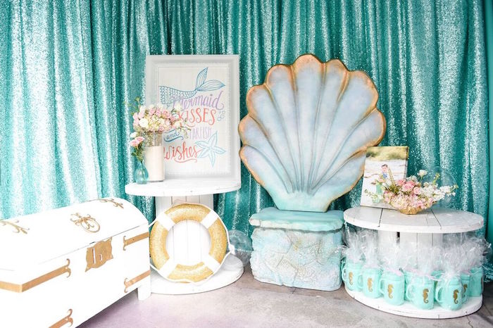 Display from a Mermaid Oasis Themed Birthday Party via Kara's Party Ideas | KarasPartyIdeas.com (41)