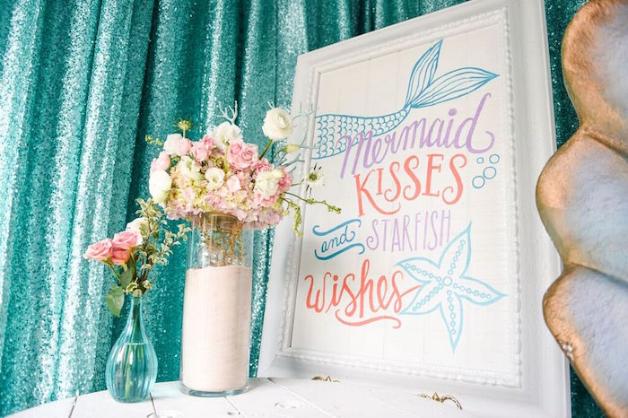Sign + Floral Arrangements from a Mermaid Oasis Themed Birthday Party via Kara's Party Ideas | KarasPartyIdeas.com (40)