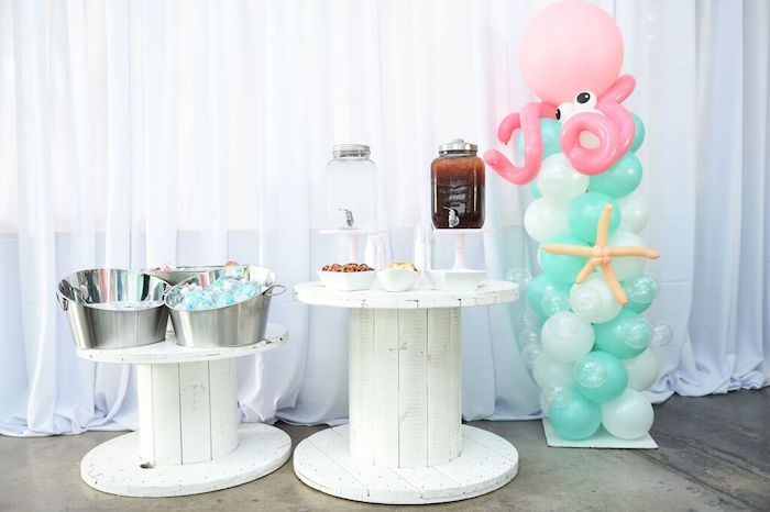 Drink Tables from a Mermaid Oasis Themed Birthday Party via Kara's Party Ideas | KarasPartyIdeas.com (35)