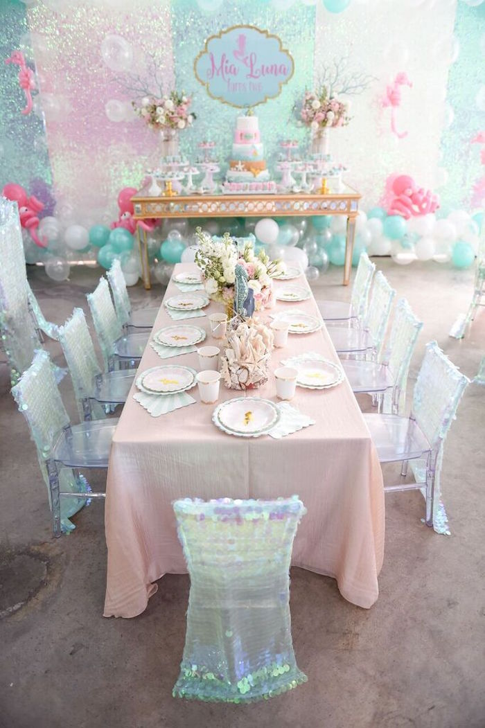 Head Dining Table from a Mermaid Oasis Themed Birthday Party via Kara's Party Ideas | KarasPartyIdeas.com (33)