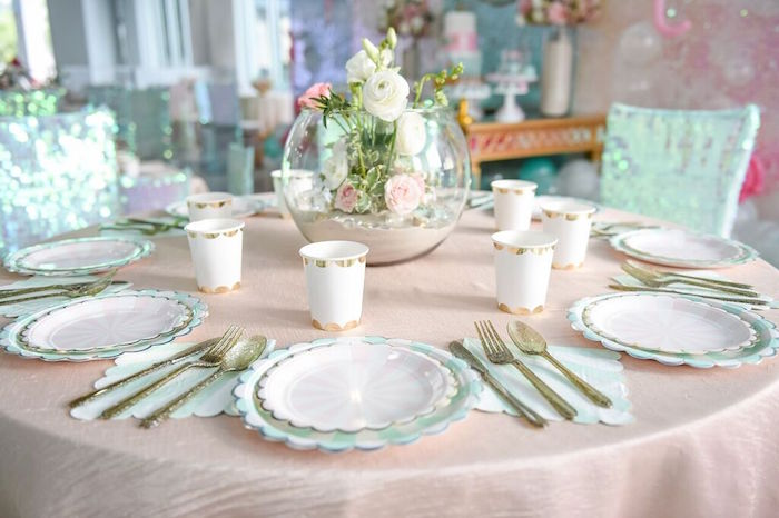 Guest Tablescape from a Mermaid Oasis Themed Birthday Party via Kara's Party Ideas | KarasPartyIdeas.com (60)