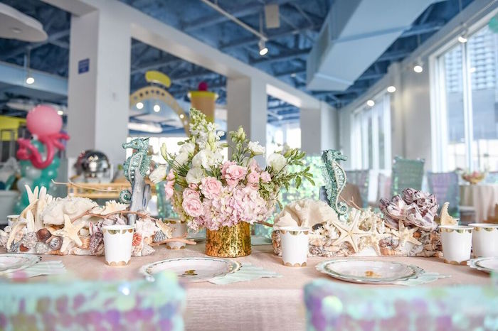 Head Table Centerpieces from a Mermaid Oasis Themed Birthday Party via Kara's Party Ideas | KarasPartyIdeas.com (59)