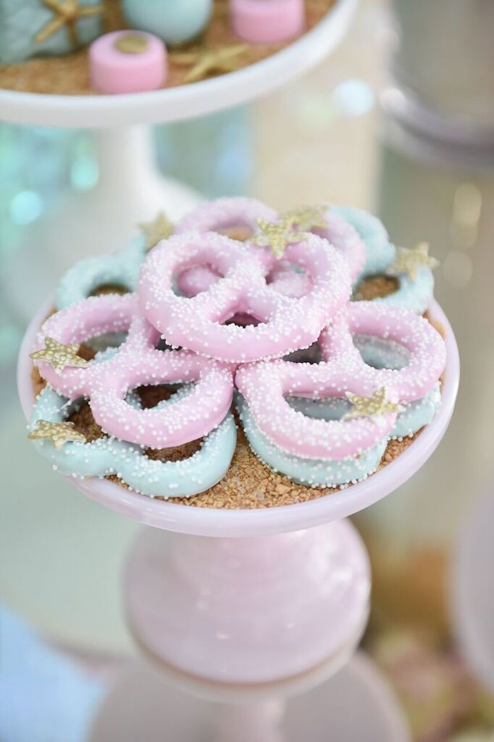 Chocolate Covered Pretzels from a Mermaid Oasis Themed Birthday Party via Kara's Party Ideas | KarasPartyIdeas.com (22)