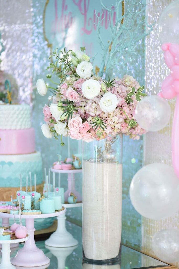 Floral Arrangement Centerpiece From A Mermaid Oasis Themed Birthday Party Via Karas Ideas
