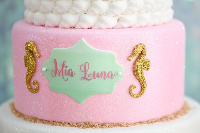 Cake Detail from a Mermaid Oasis Themed Birthday Party via Kara's Party Ideas | KarasPartyIdeas.com (9)
