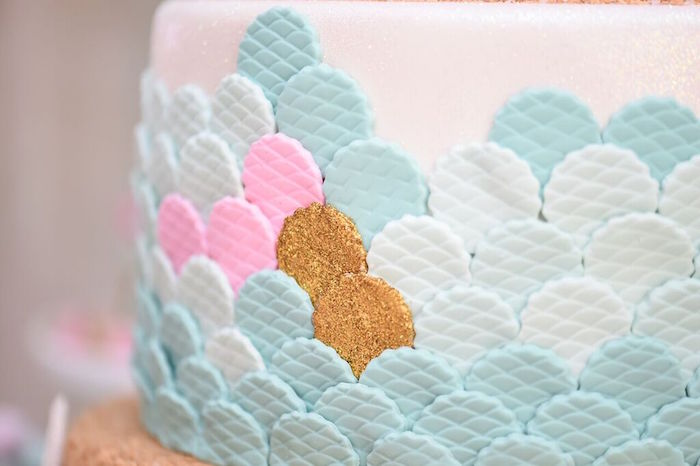 Fondant Scales from a Cake at a Mermaid Oasis Themed Birthday Party via Kara's Party Ideas | KarasPartyIdeas.com (8)