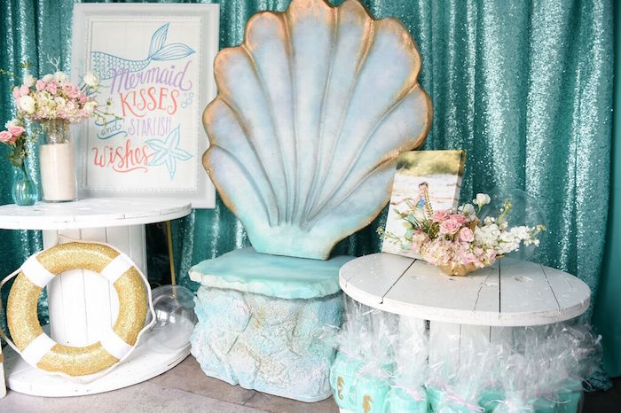 Tables + Decor from a Mermaid Oasis Themed Birthday Party via Kara's Party Ideas | KarasPartyIdeas.com (5)
