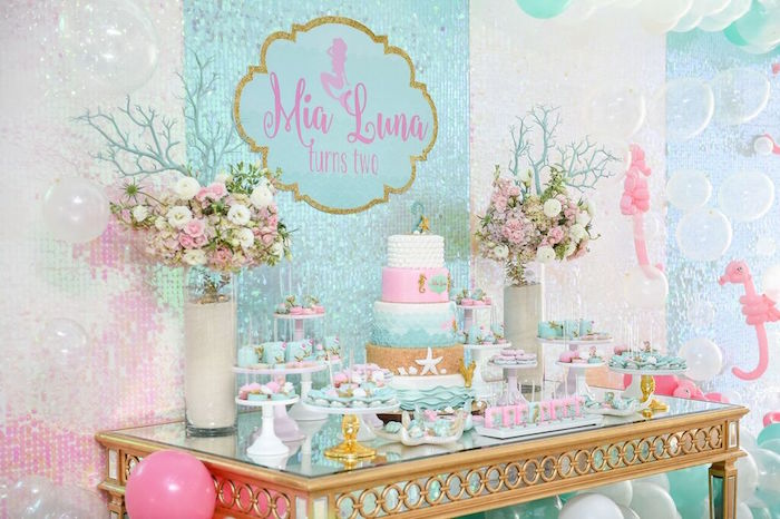 Sweet Table from a Mermaid Oasis Themed Birthday Party via Kara's Party Ideas | KarasPartyIdeas.com (57)