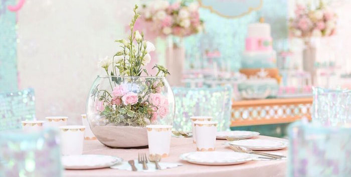 Guest Tablescape from a Mermaid Oasis Themed Birthday Party via Kara's Party Ideas | KarasPartyIdeas.com (1)