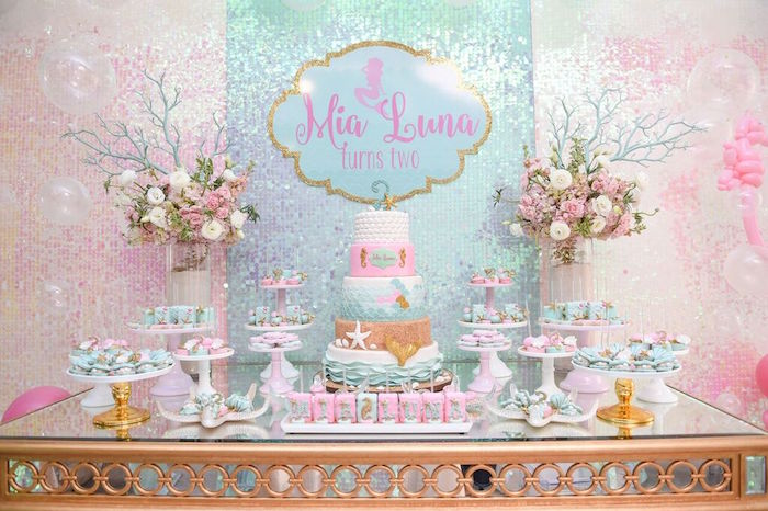Sweet Table Details from a Mermaid Oasis Themed Birthday Party via Kara's Party Ideas | KarasPartyIdeas.com (56)